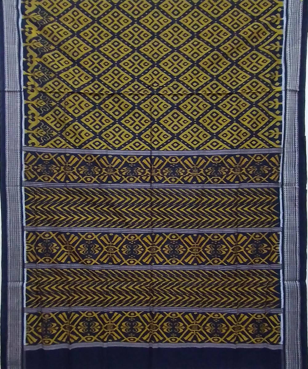 Mustard black handwoven cotton sambalpuri saree