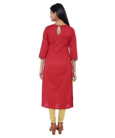 Red linen straight kurta with side detail dori