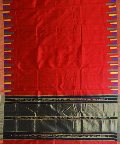 Red Dupion Silk Handloom Saree