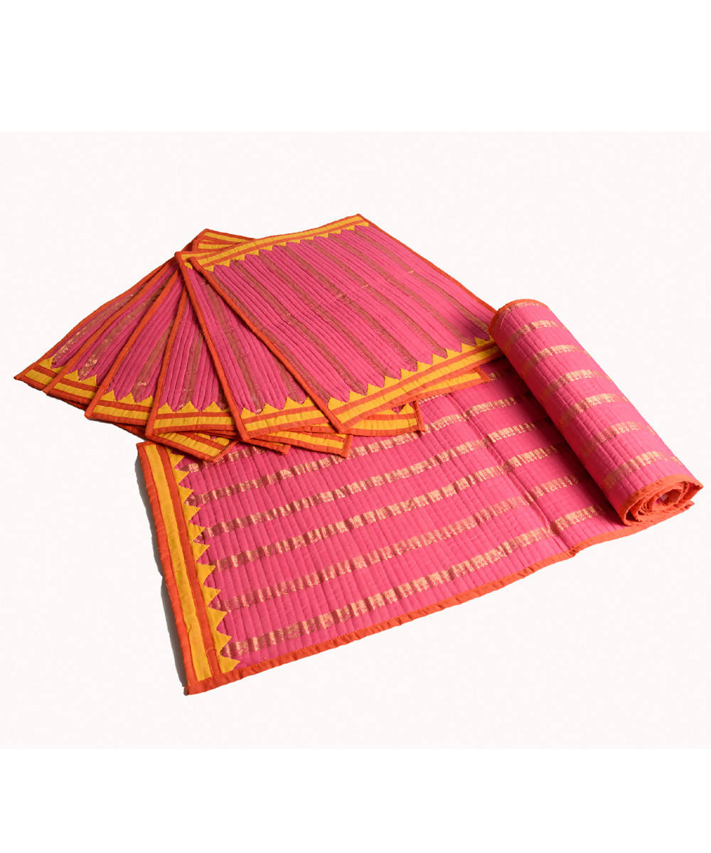 Pink Mangalgiri Cotton Table mat and runner set