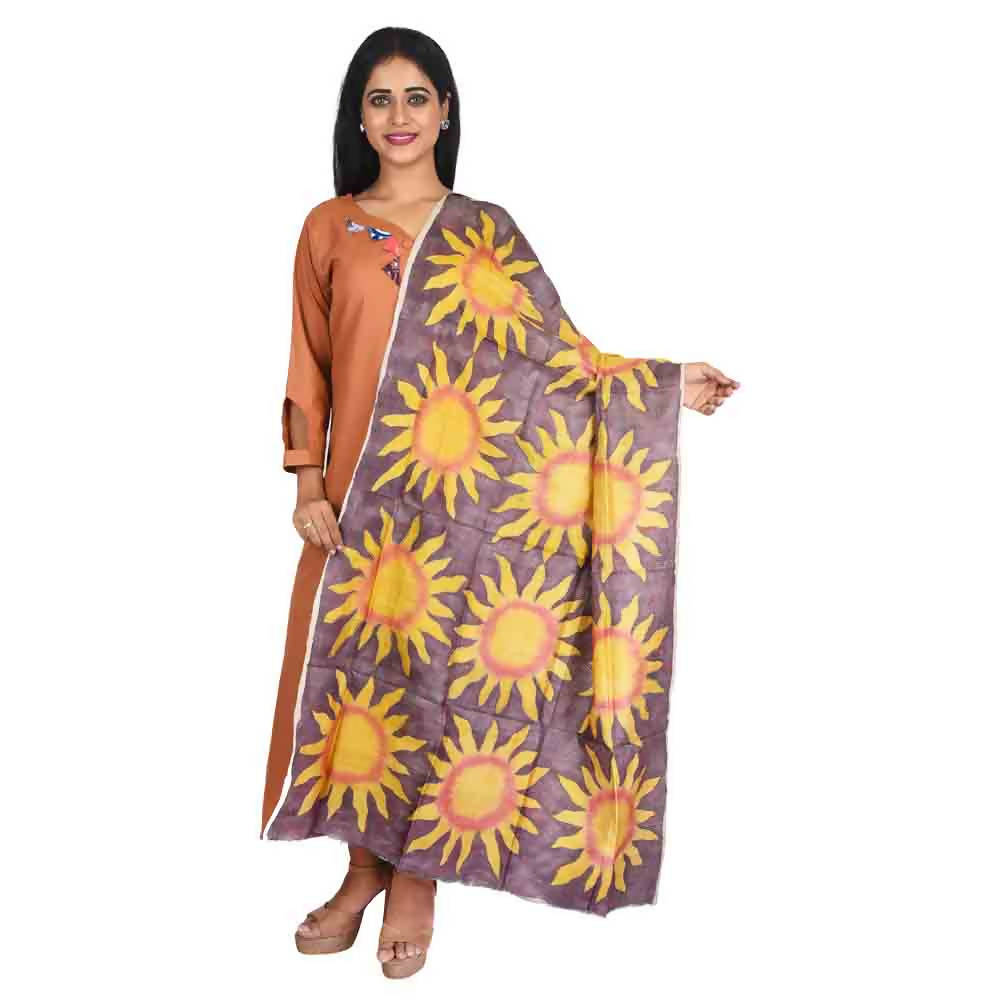 Brown and yellow kantha stitch hand embroidery handwoven silk dupatta