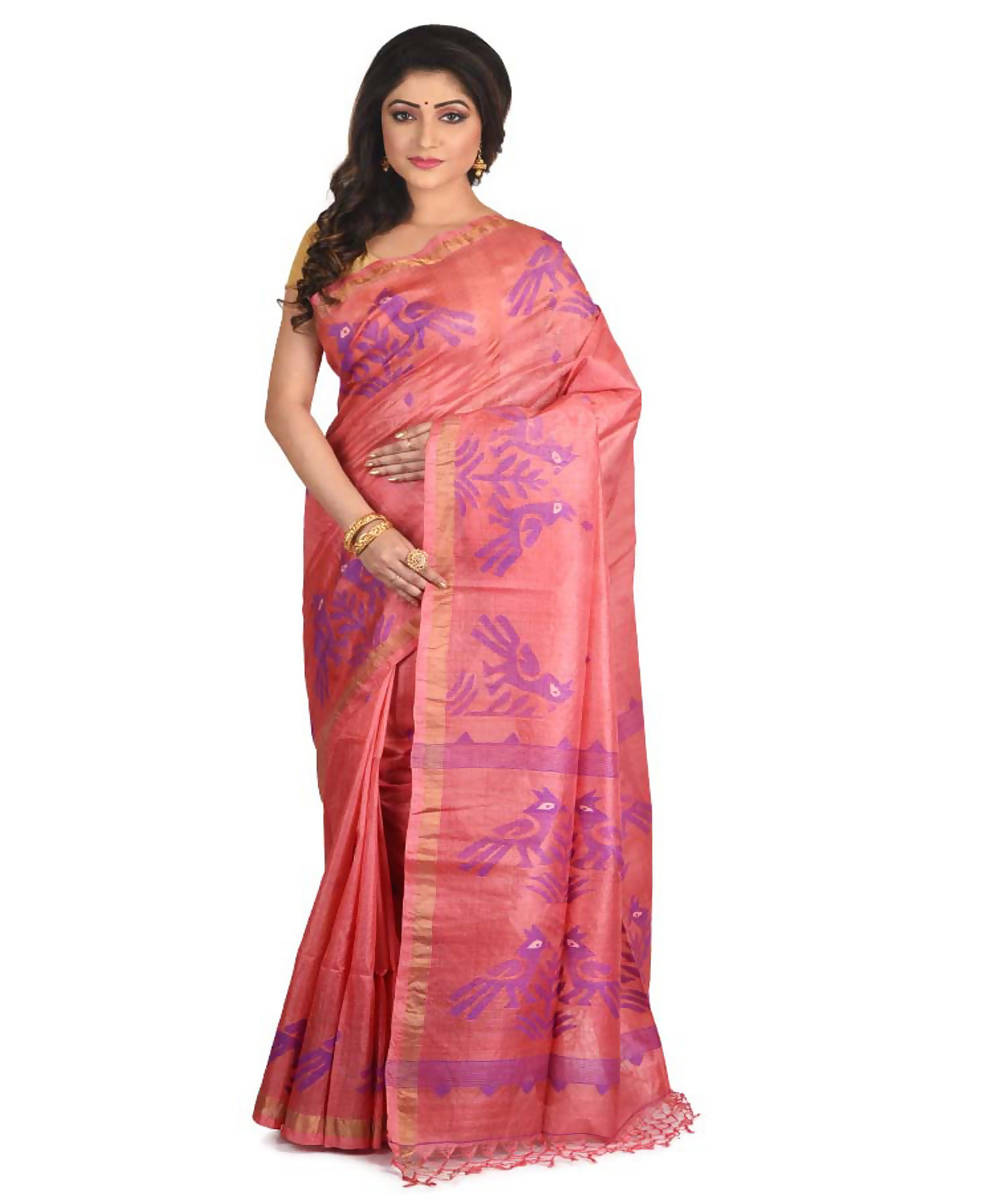 Resham shilpi bengal lightpink tasar saree with handwoven jamdani work