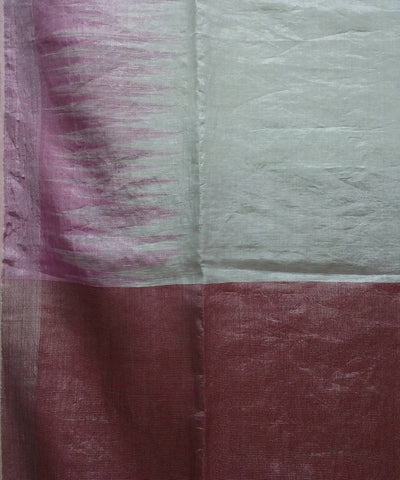 silver and pink handwoven Linen tissue Saree