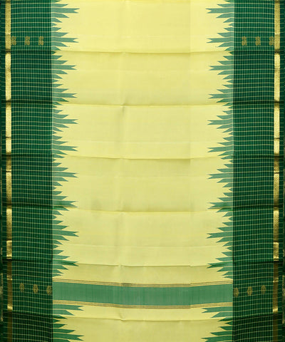 Cream Green Handloom Thirubuvanam Silk Saree