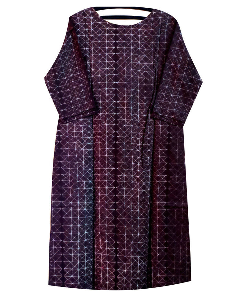Shibori Hand Printed Cotton Dark Plum Purple Kurta