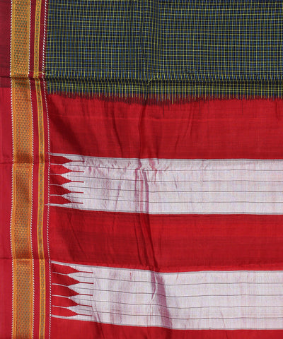 Ilkal Handloom Green Check Chikki Paras Saree