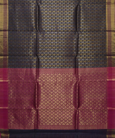 Handwoven Charcoal Black Pink Kosa Silk Saree