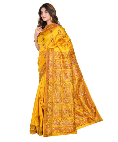 Yellow baluchari handwoven Silk Saree
