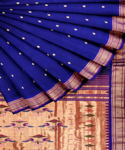 Navy Blue Handloom Paithani Silk Saree