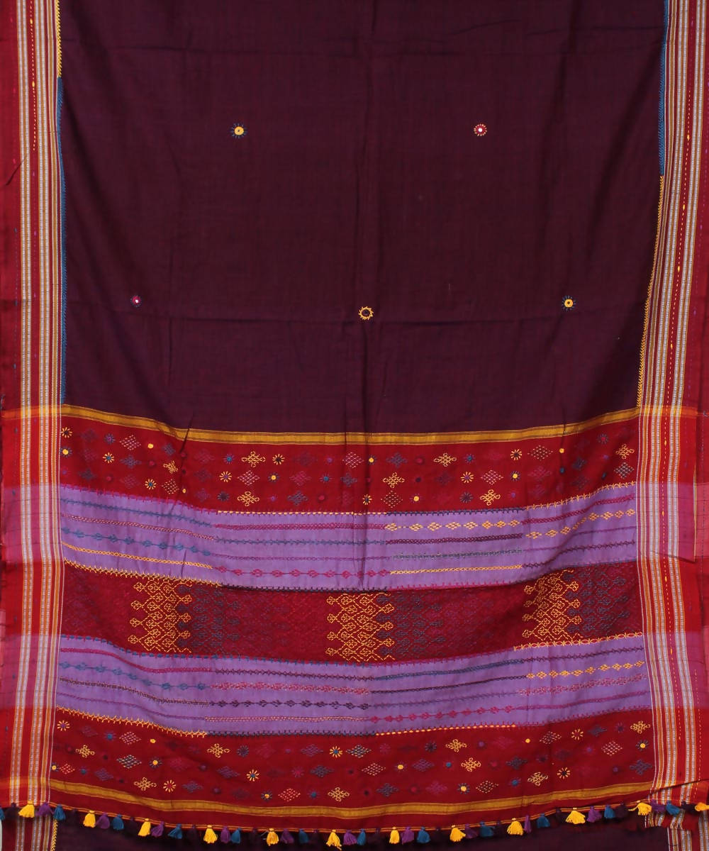 dark wine purple hand embroidery ilkal cotton saree