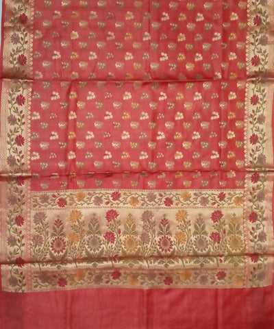 Cherry Red Handwoven Banarasi Silk Saree