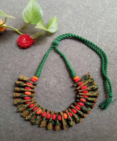 Moss green ajrakh handblock printed fabric choker necklace