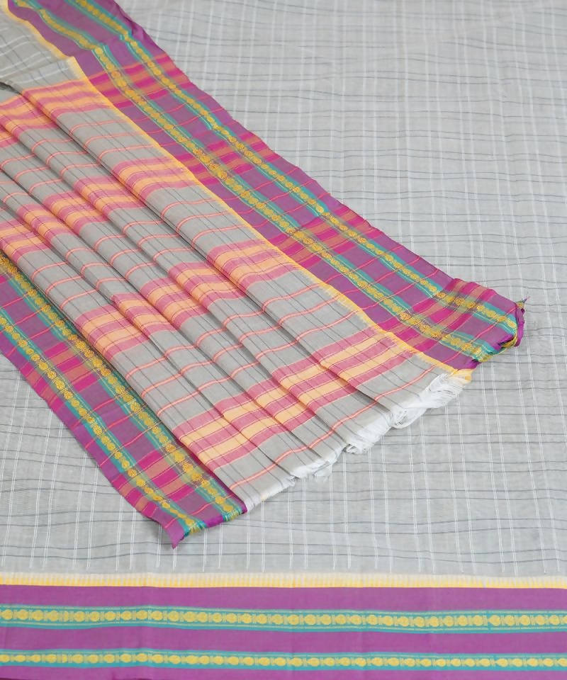 Light Grey Handloom Narayanpet Cotton Saree