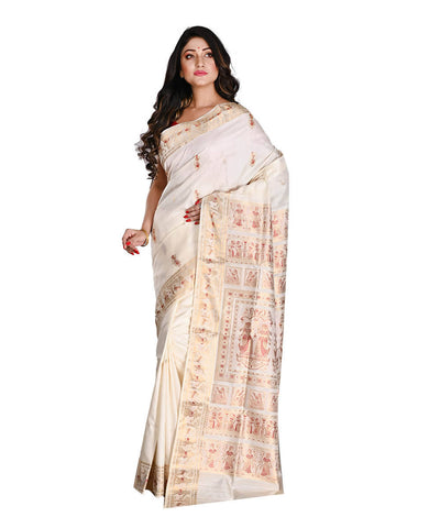 Bengal Off White Gold Baluchari Silk Saree