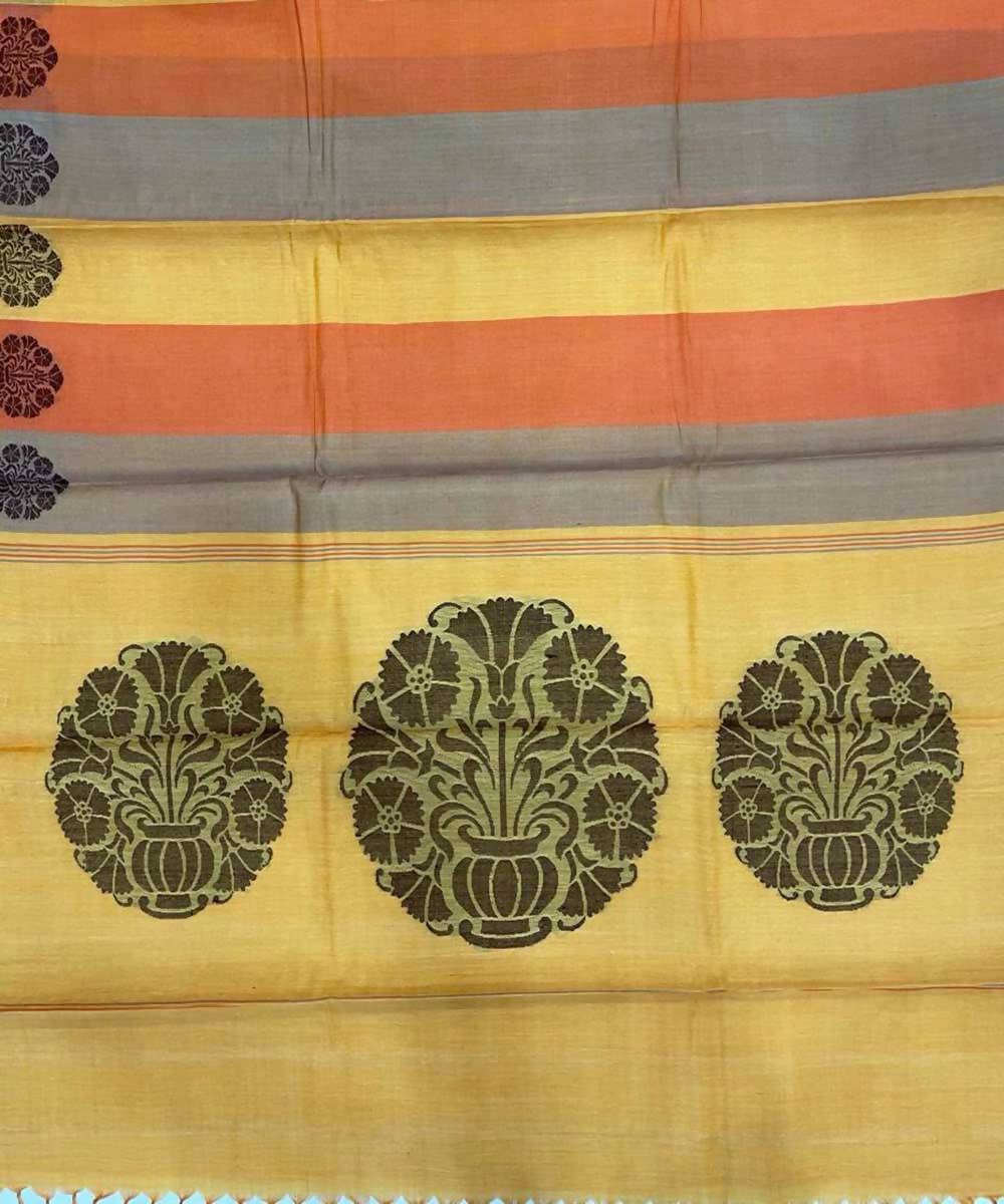 Yellow orange grey handwoven pain tussar silk saree