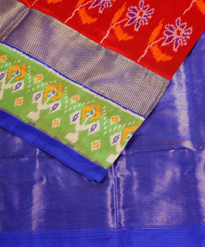 Red Blue Handloom Pochampally Silk Saree
