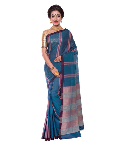 Blue Bengal Stripe Handloom Cotton Saree
