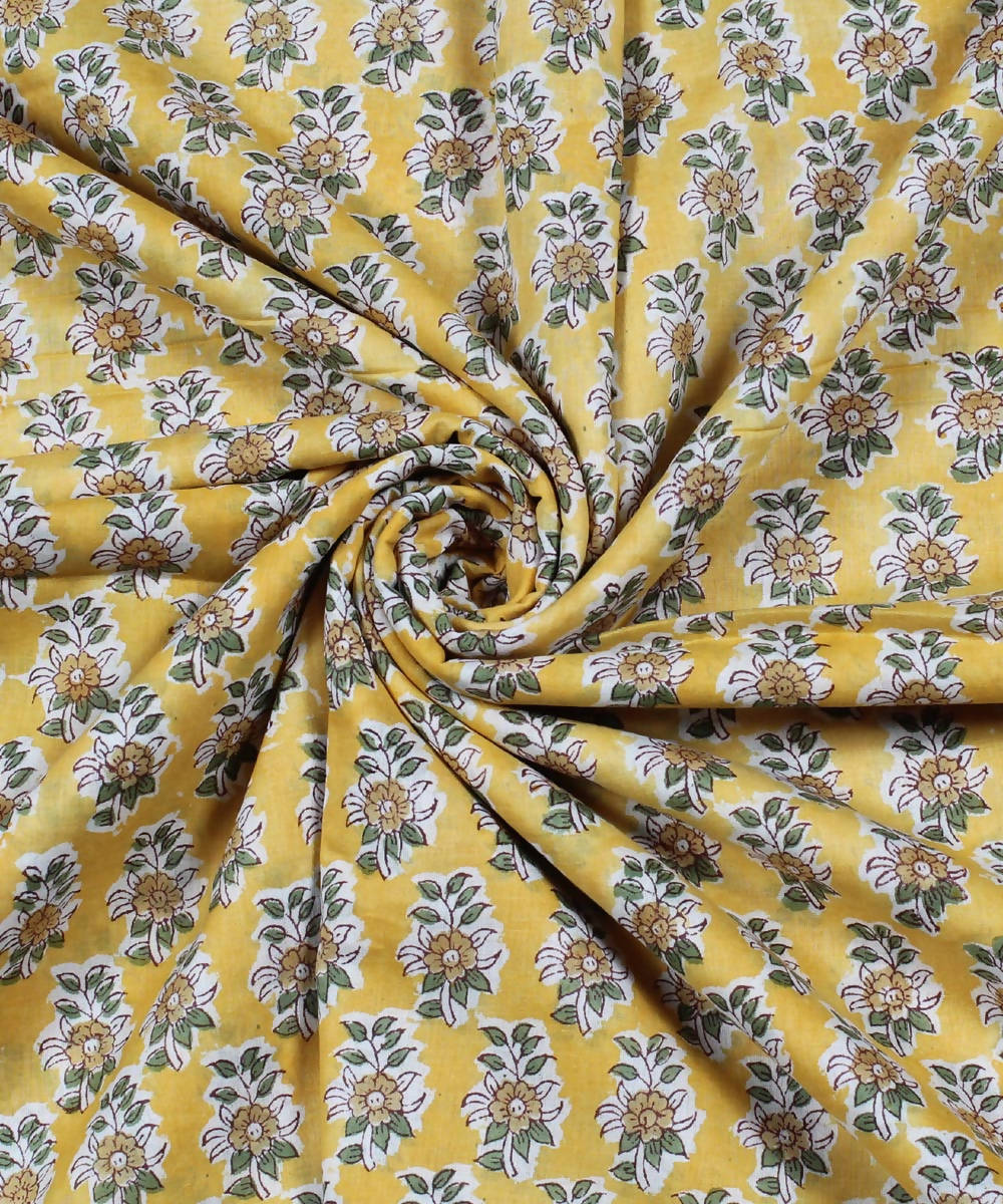 Yellow Floral Handblock Print Cotton Fabric