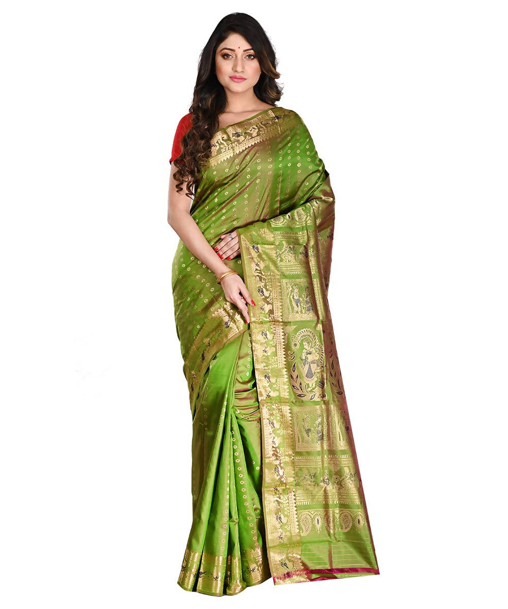 Bengal Handloom Green Baluchari Silk Saree