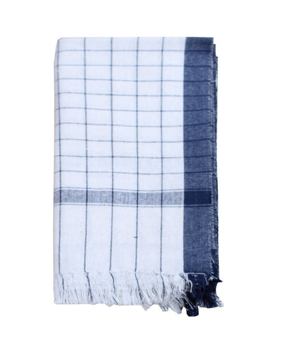 White with Blue Checks Handwoven Cotton Towel