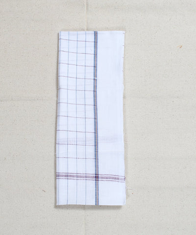 Multicolor Checks White Handloom Cotton Towel
