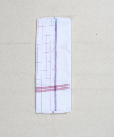 Multicolor Checks White Cotton Handloom Towel