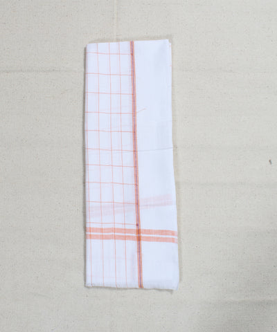 White with Orange Check Handloom Cotton Towel