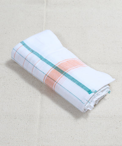Handloom White Multicolor Checks Cotton Towel