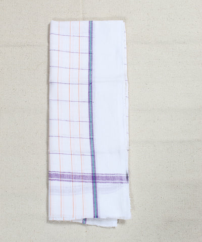 Handloom Multicolor Checks Cotton White Towel