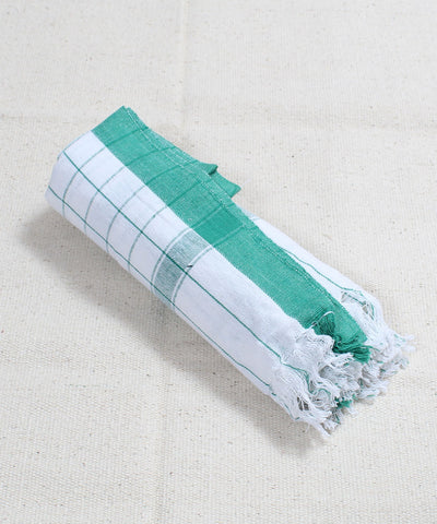 White with Green Checks Handloom Cotton Towel