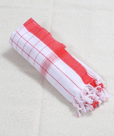 White with Red Checks Handwoven Cotton Towel