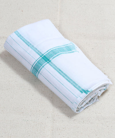 White with Cyan Striped Handloom Cotton Towel
