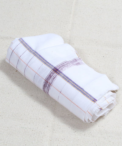 White with Brown Checks Handloom Cotton Towel