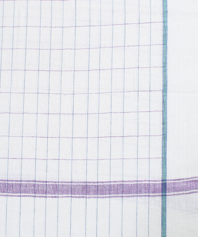 White with Purple Check Handloom Cotton Towel