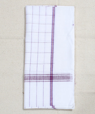White with Wine Checks Handwoven Cotton Towel