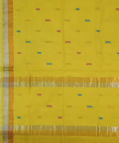 Yellow Handwoven Venkatagiri cotton Saree