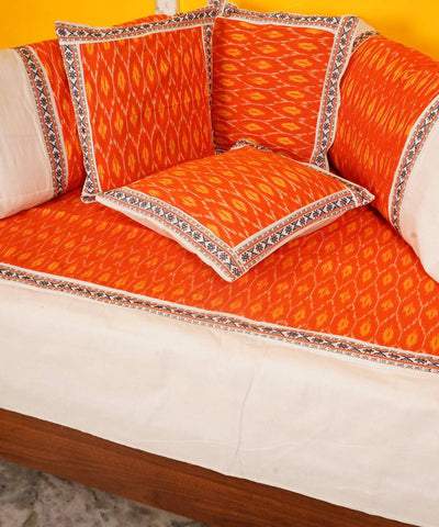 Orange Handloom Pochampally Diwan Set