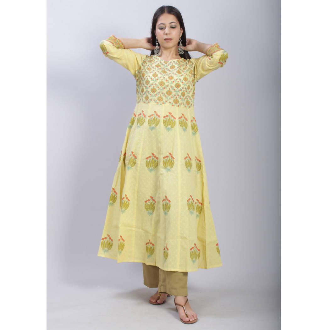 Yellow hand block printed anarkali cotton kurti