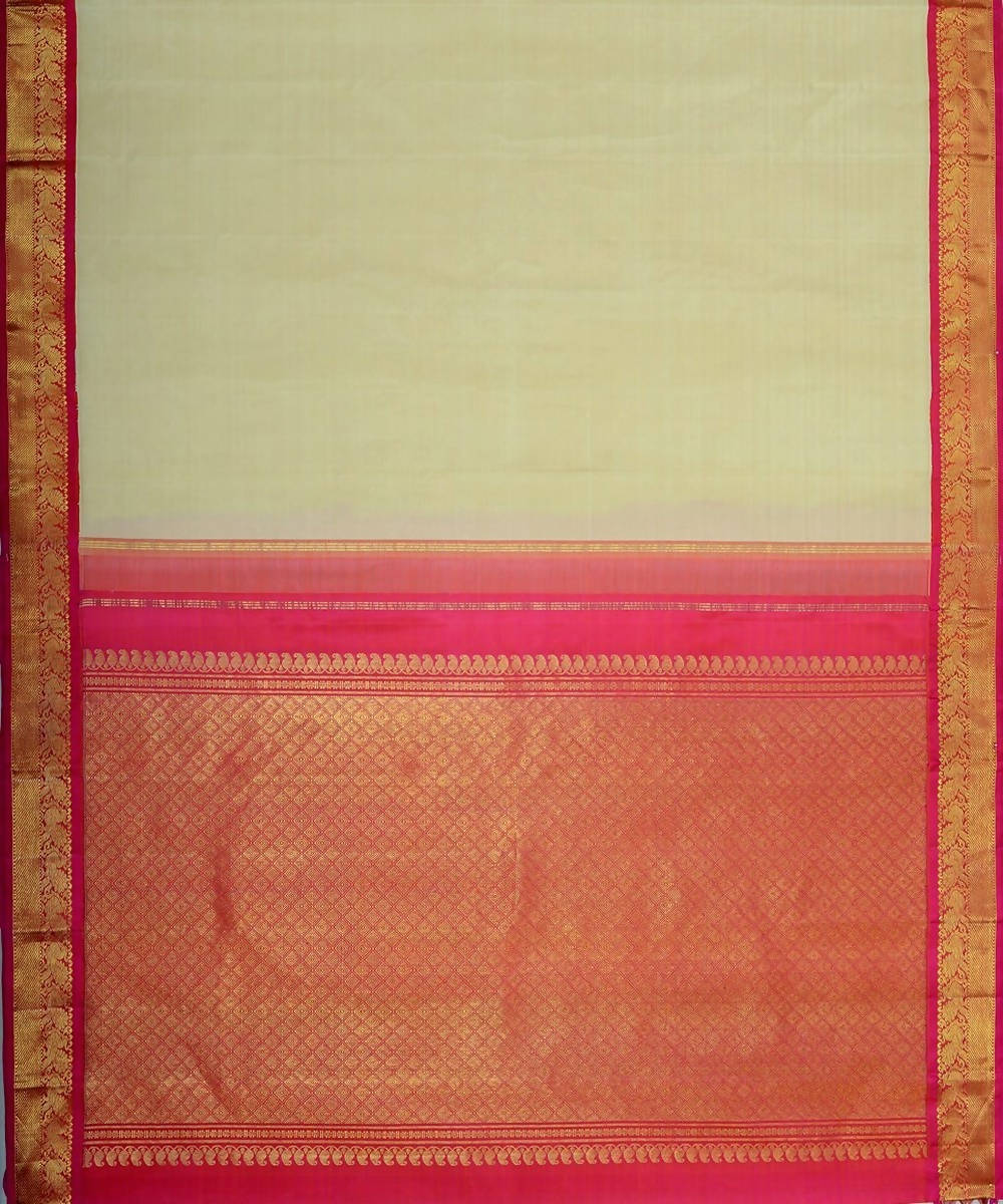 Off white and pink handloom kanjivaram bridal silk saree