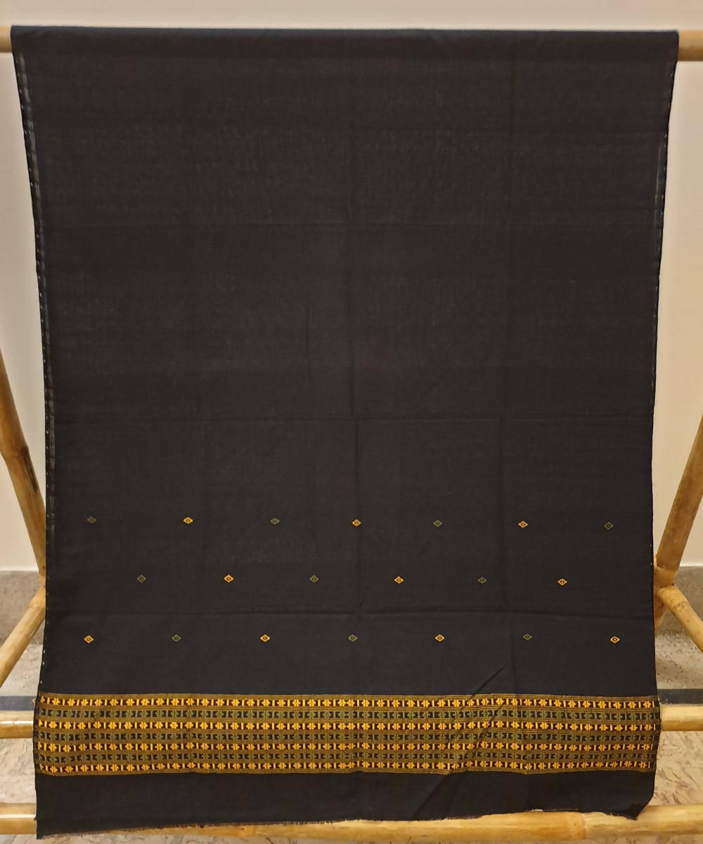 Black assam handwoven cotton kurta piece
