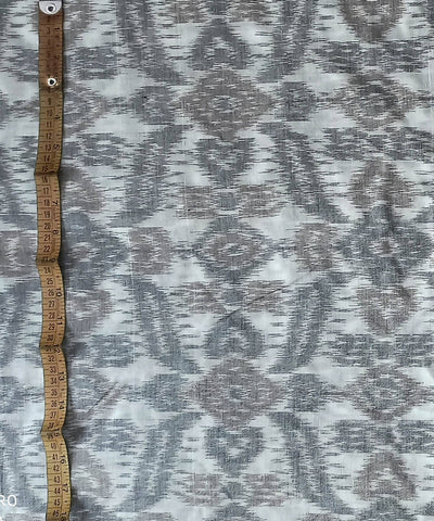 Handwoven Off White Ikat Cotton Fabric