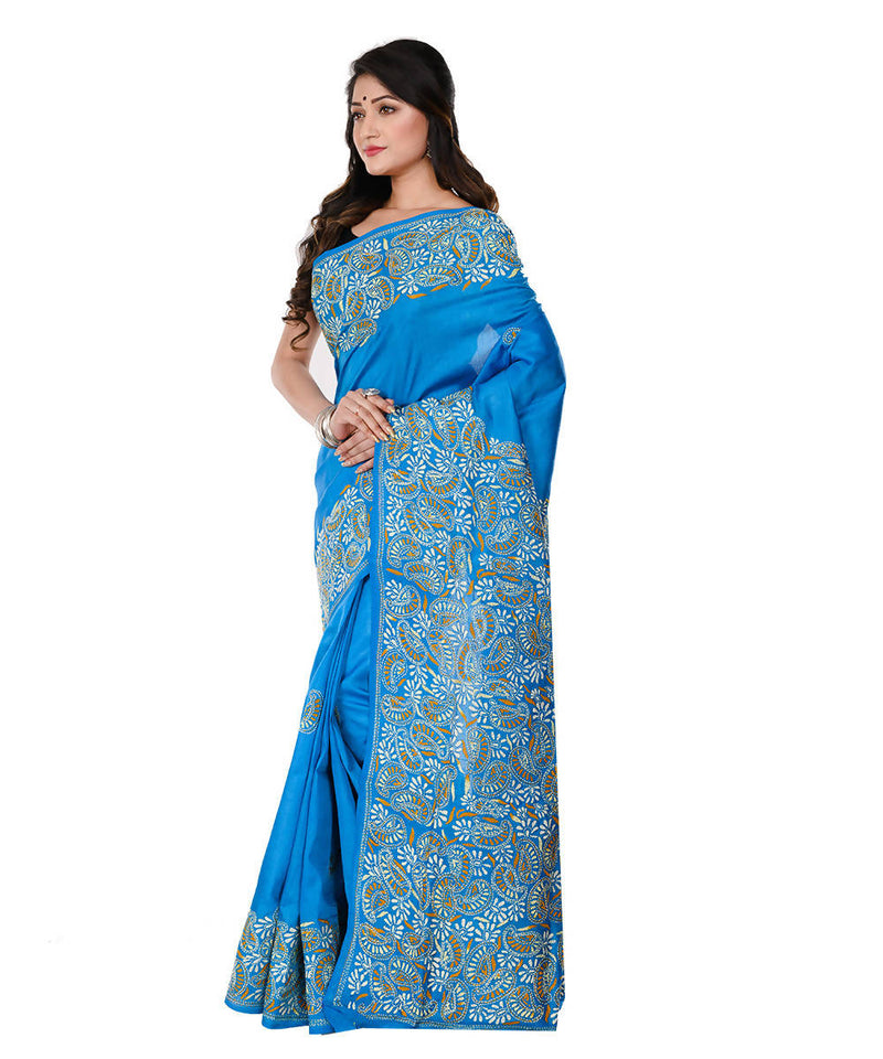 Dark Sky Blue Kantha Hand stitched Silk Saree