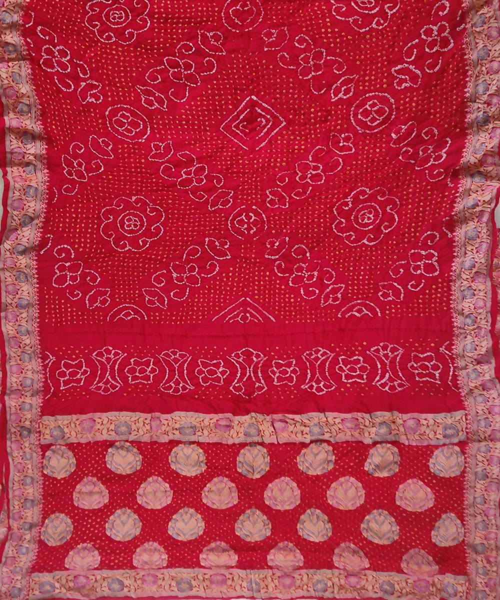 Red Handprint tie dye Bandhani Saree