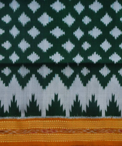 Dark Green Nuapatna Ikat Handloom Silk Saree