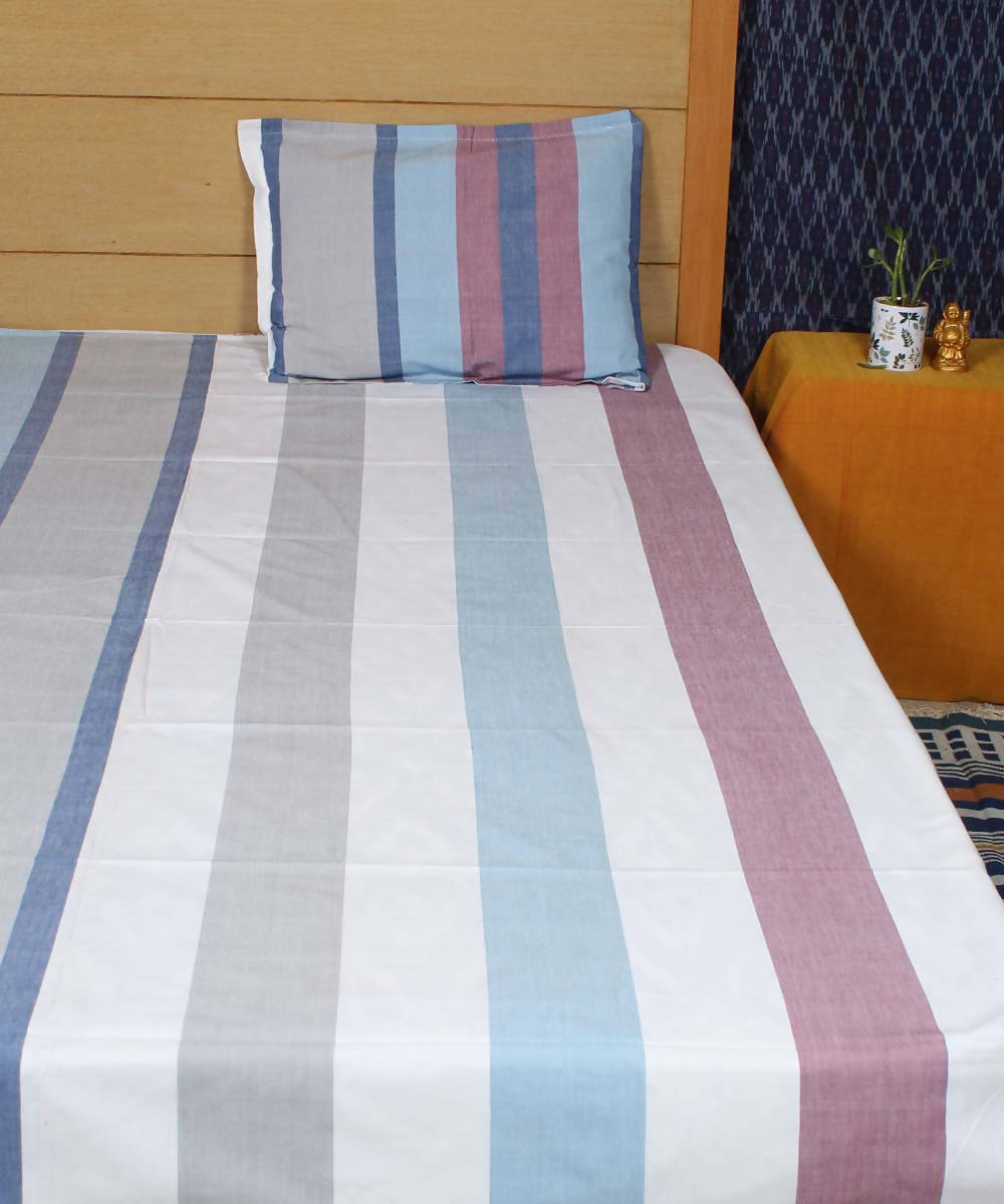 Blue White Broad Stripe Handloom Bedsheet