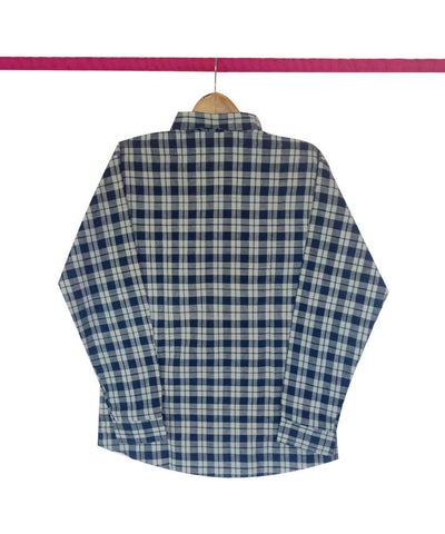 Indigo and White Checks Handspun Handwoven Cotton Shirt