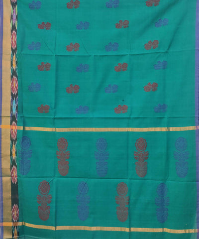 Teal Green Handwoven Cotton Jacquard tie and dye Saree