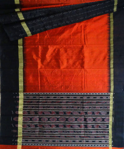 Orange Dupion Silk Handloom Saree