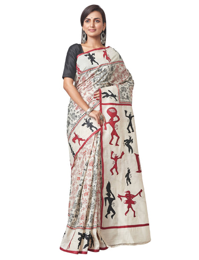 Biswa Bangla Handloom Kantha Silk Saree with Applique work