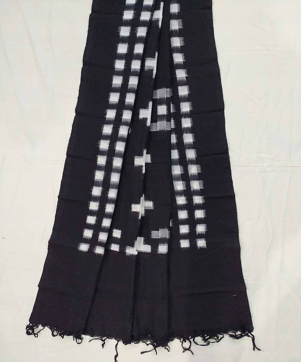 Black and white Cotton Handwoven Dupatta